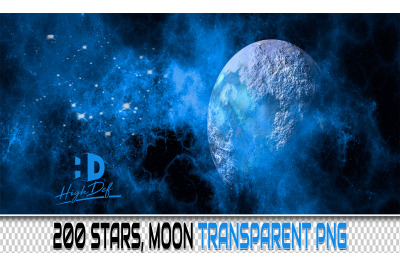 200 STARS, MOON TRANSPARENT PNG Photoshop Overlays, Backdrops