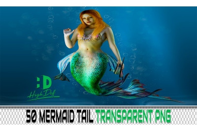 50 MERMAID TAIL TRANSPARENT PNG Photoshop Overlays, Backdrops