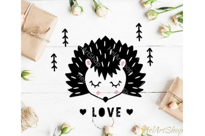 Hedgehog svg, Woodland svg, forest animal svg