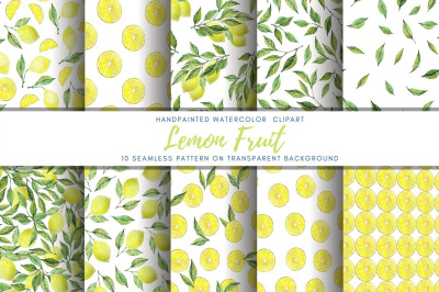 Lemon watercolor Pattern set.  Citrus digital paper pack
