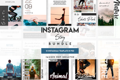 10 instagram story template bundle