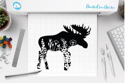Floral Moose SVG Cut Files, Floral Moose Clipart,