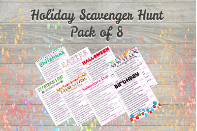 Holiday Scavenger Hunt Pack 8 games , Printable Kids Activity, Game, p