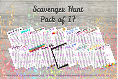 Scavenger Hunt Pack 17 games , Printable Kids Activity, Game, party ga