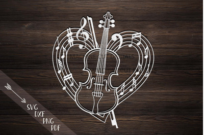 Violin musical heart shape svg dxf laser cut out template