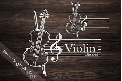 Violin Music classes Monogram frame laser cut svg dxf files