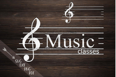 Music key monogram frame for name music classes svg dxf cut