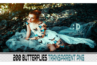 200 BUTTERFLIES TRANSPARENT PNG Photoshop Overlays, Backdrops