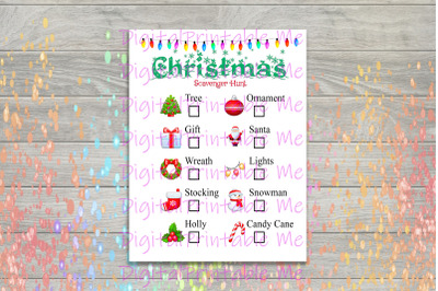 Christmas Scavenger Hunt Printable, Kids Activity, indoor outdoor Game