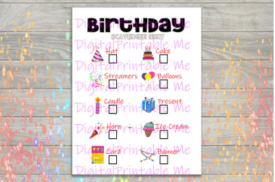 Birthday Scavenger Hunt Printable, Kids Activity, Indoor Game, outdoor