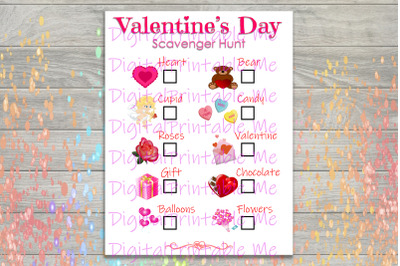 Valentine's Day Scavenger Hunt Printable, Kids Activity, Game, party g
