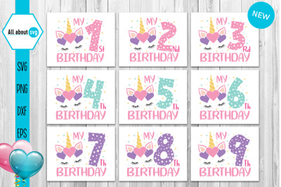 Unicorn Birthday Numbers Bundle Svg