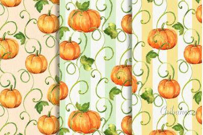 Pumpkins. 3 watercolor patterns