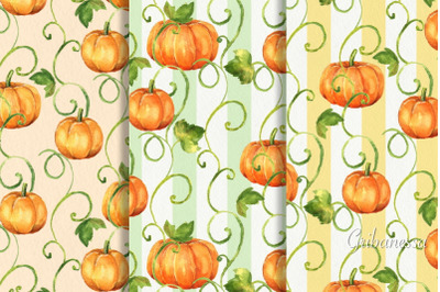 Pumpkins. Watercolor patterns