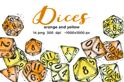Orange and yellow dices