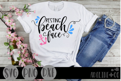 Resting beach face, SVG, PNG, DXF