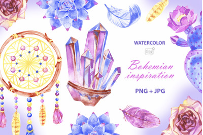 Boho watercolor cliparts