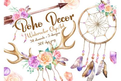 Boho Watercolor Clipart rose Flowers dream Catcher Deer Horns Antlers