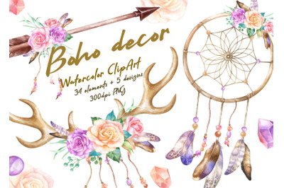 Boho Watercolor Clipart rose Flowers dream Catcher Deer Horns Antlers