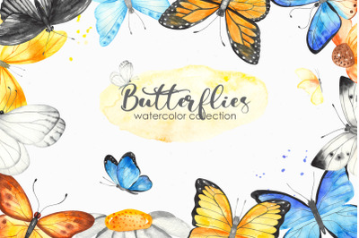 Watercolor butterflies. Clipart, cards, frames, wreaths, patterns