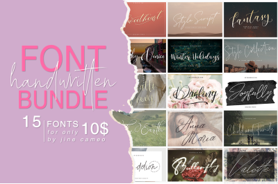 Handwritten Font Bundle 15 in 1