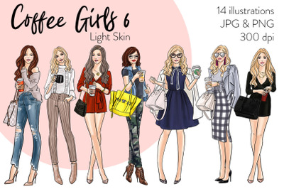 Watercolor Fashion Clipart - Coffee Girls 6 - Light Skin