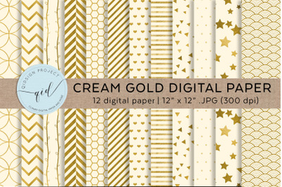 Cream Gold Digital Paper
