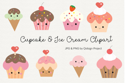 Cute cupcake and ice cream clipart