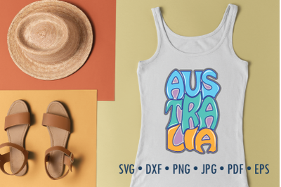 Australia Word Art, Svg Dxf Eps Png Jpg, Cut file, Typography