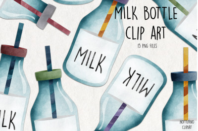 Watercolor Milk Bottle Clipart. Bottle graphics. Set of 15 png clip ar