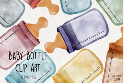 Watercolor Baby Bottle Clipart. Bottle graphics
