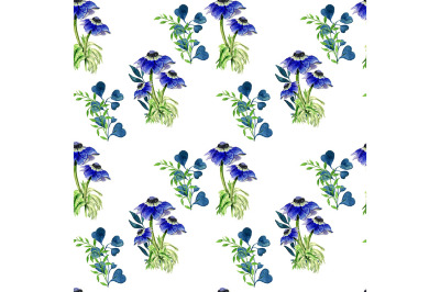 Seamless flowers pattern with anemones on white background.