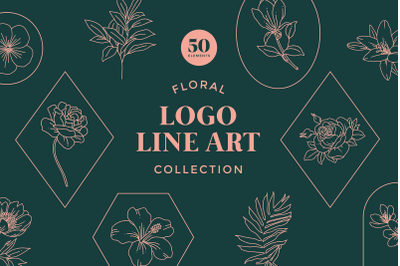 Floral Logo Line Art Set