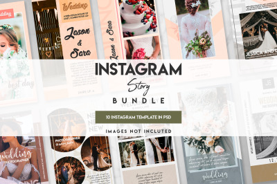 10 wedding instagram template set
