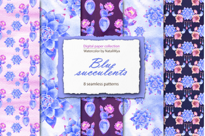 Blue succulents - boho papers pack