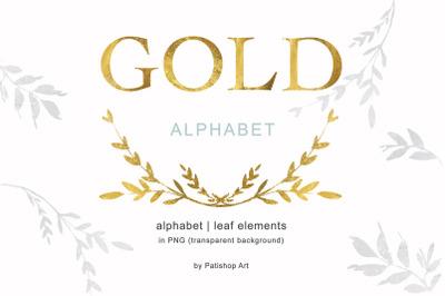 Gold Alphabet & Leaf Clip Art Collection