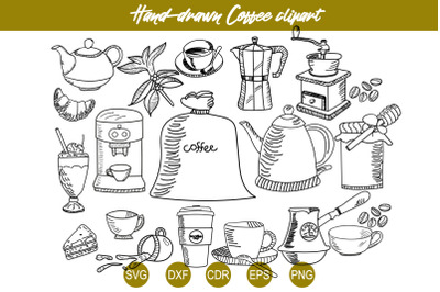 Coffee SVG Set,  Coffee Line Clipart, Vector Bundle, Coffee accessorie