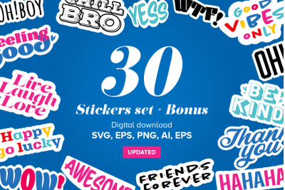 Stickers bundle SVG, PDF AI, EPS, PNG