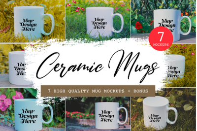 7 High-quality Mug Mockups + images, Photoshop mockups, 11 PNG Images