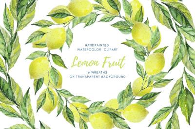 Watercolor wreath clipart. Lemon fruit and leaves wreath set.