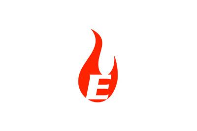 e letter flame logo