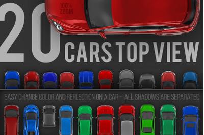20 Cars top view renders