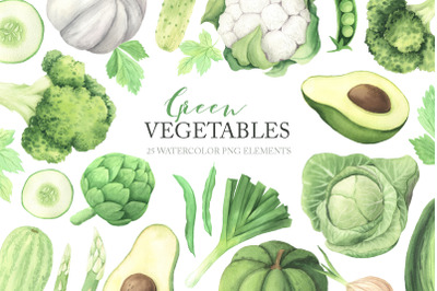 Watercolor Green Vegetables Clipart