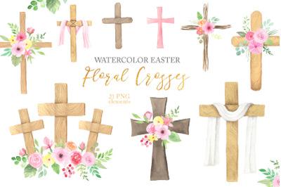 Watercolor Easter Floral Crosses