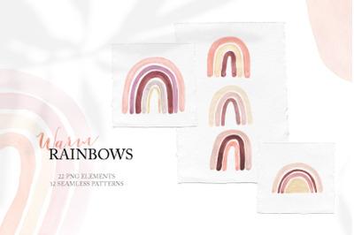 Watercolor Boho Rainbows Set
