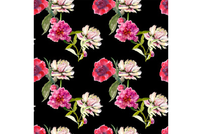 Seamless peonies pattern on black background.