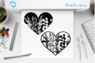 Floral Heart SVG Cut Files, Floral Heart Clipart.