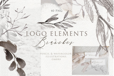 BOTANICAL LOGO ELEMENTS