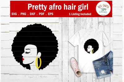 Afro puff hair African American woman SVG,PNG,DXF,PDF,EPS