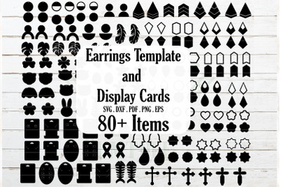 HUGE Earrings and earrings Card display templates,Jewelry template SVG